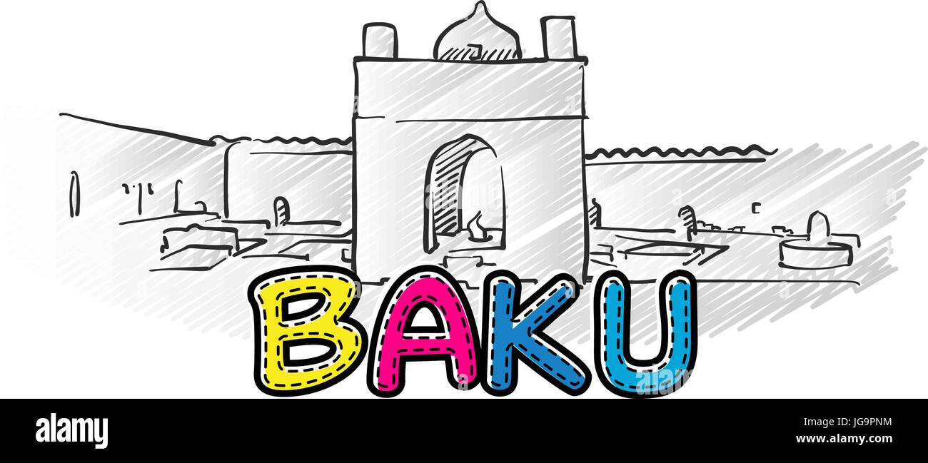 Baku beautiful sketched icon, famaous hand-drawn landmark, city name lettering, vector illustration - Stock Vector