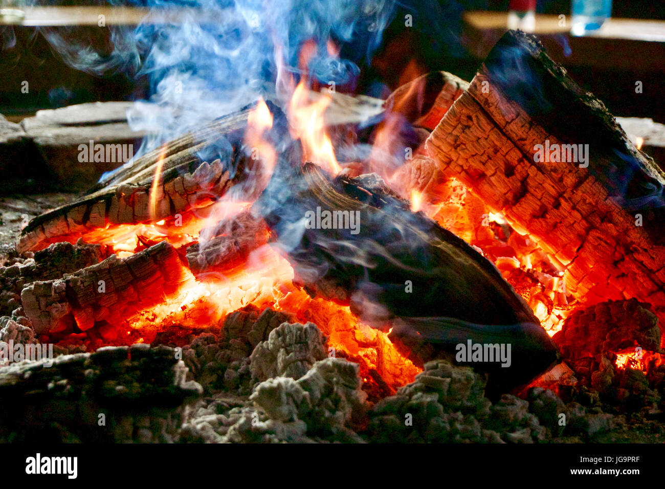 Campfire in a BBQ-hut - Stock Image