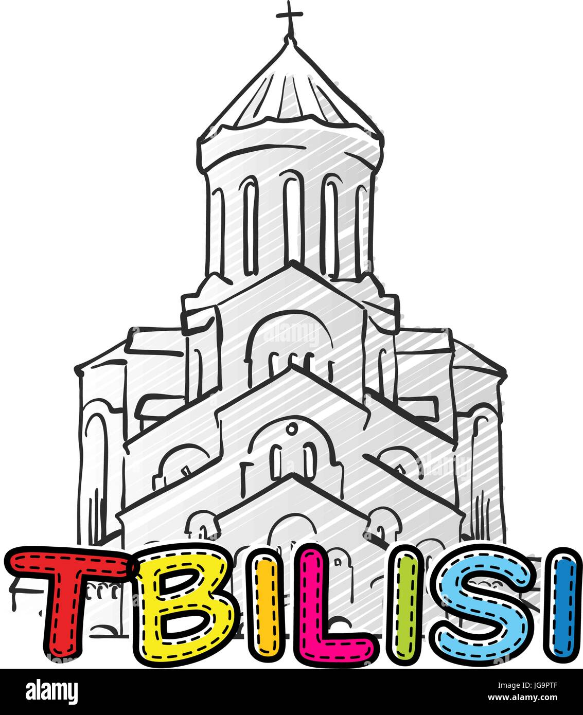 Tbilisi beautiful sketched icon, famaous hand-drawn landmark, city name lettering, vector illustration - Stock Vector