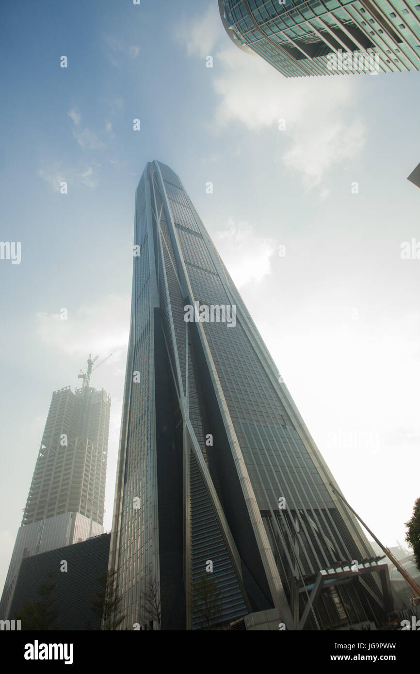 Skycrapers and office buildings; Futian district, Shenzhen; Guangdong province; People's republic of China - Stock Image