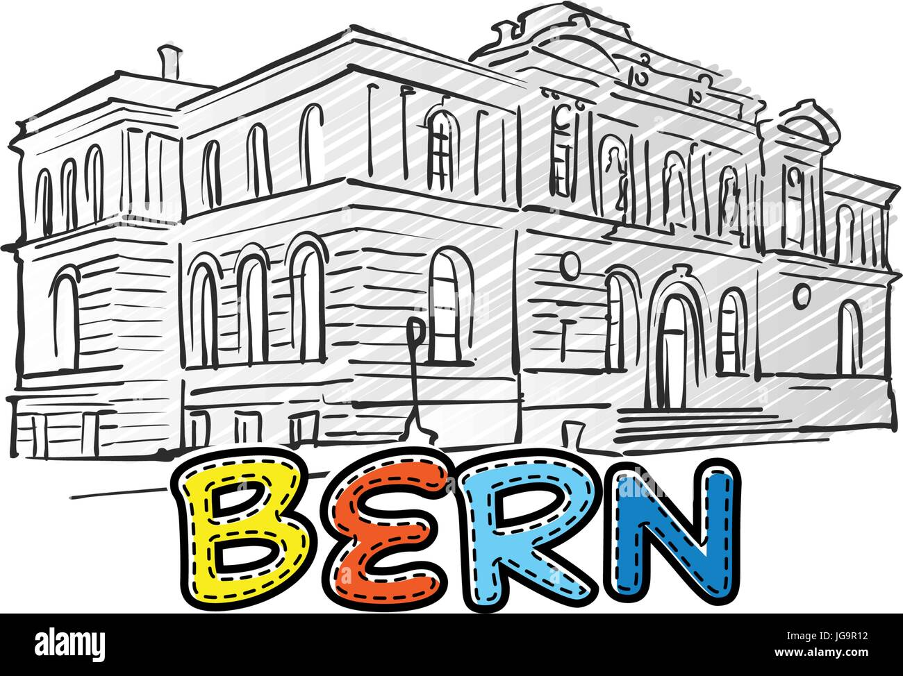 Bern beautiful sketched icon, famaous hand-drawn landmark, city name lettering, vector illustration - Stock Vector