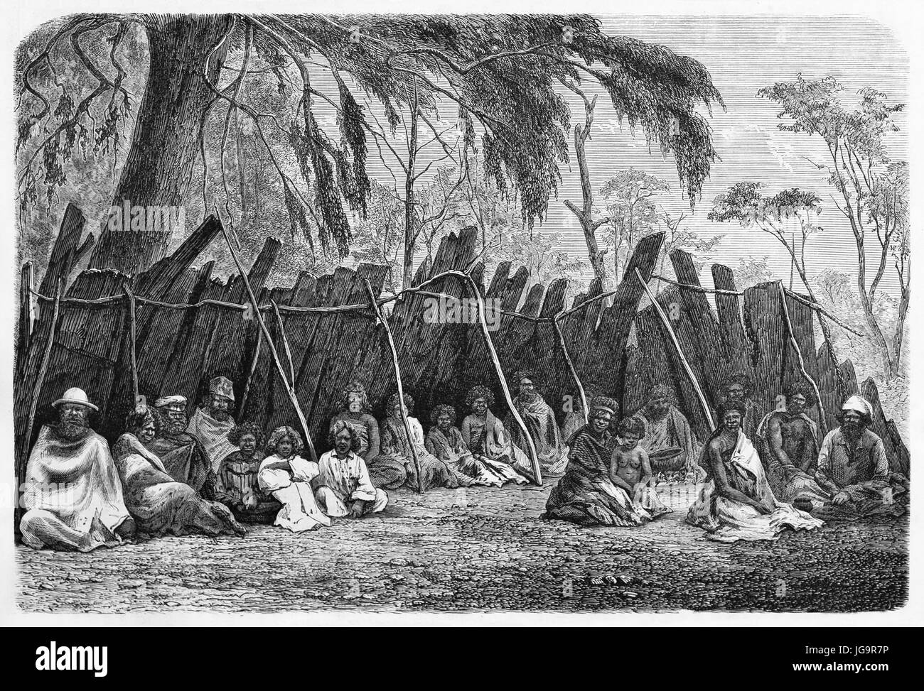 Old engraved portrait of Australian aboriginals camp. Created by Riou and Gusmand after photo of unknown author, - Stock Image