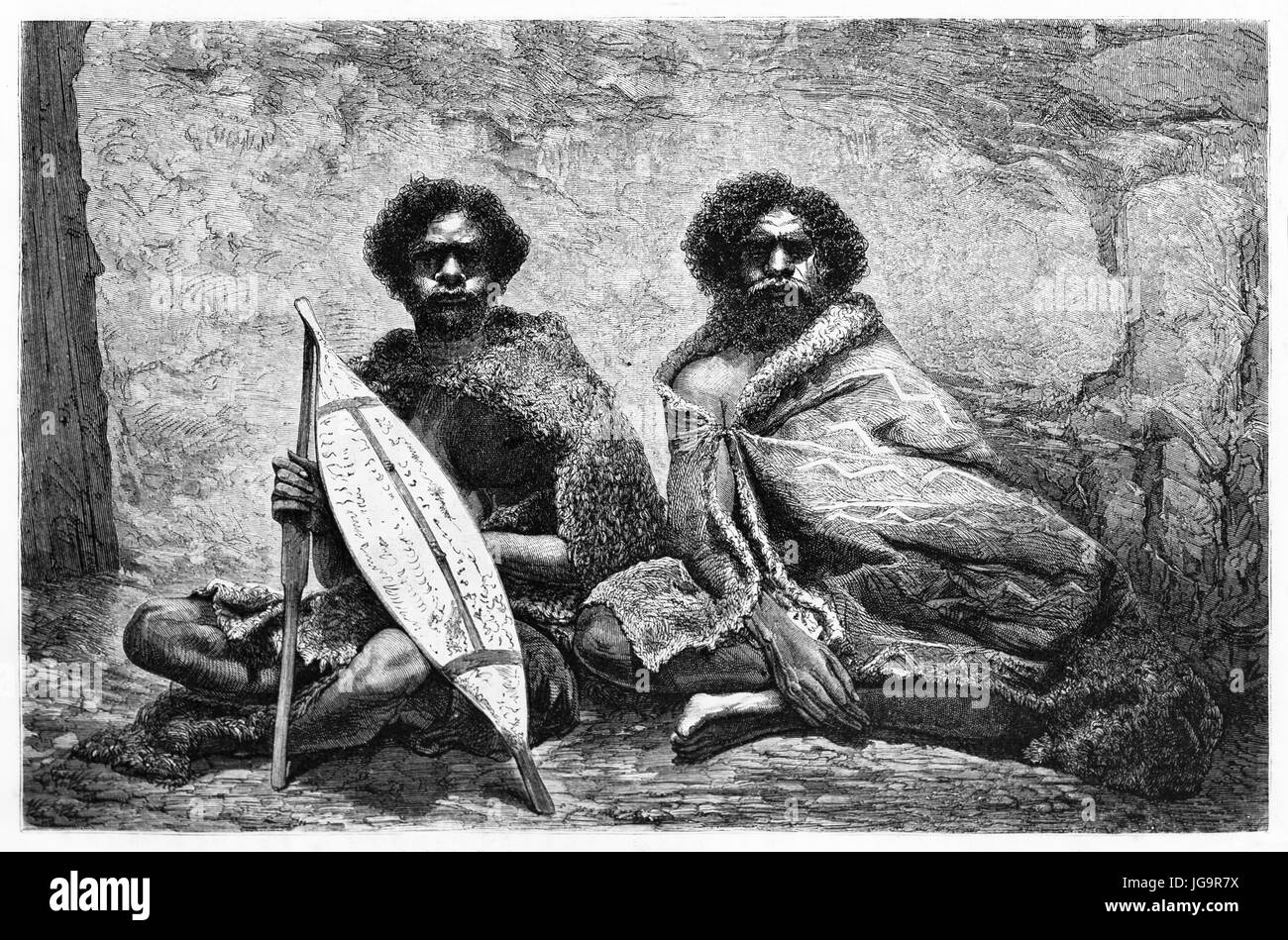 Old engraved portrait of Australian aboriginals. Created by Riou and Maurand after photo of unknown author, published - Stock Image