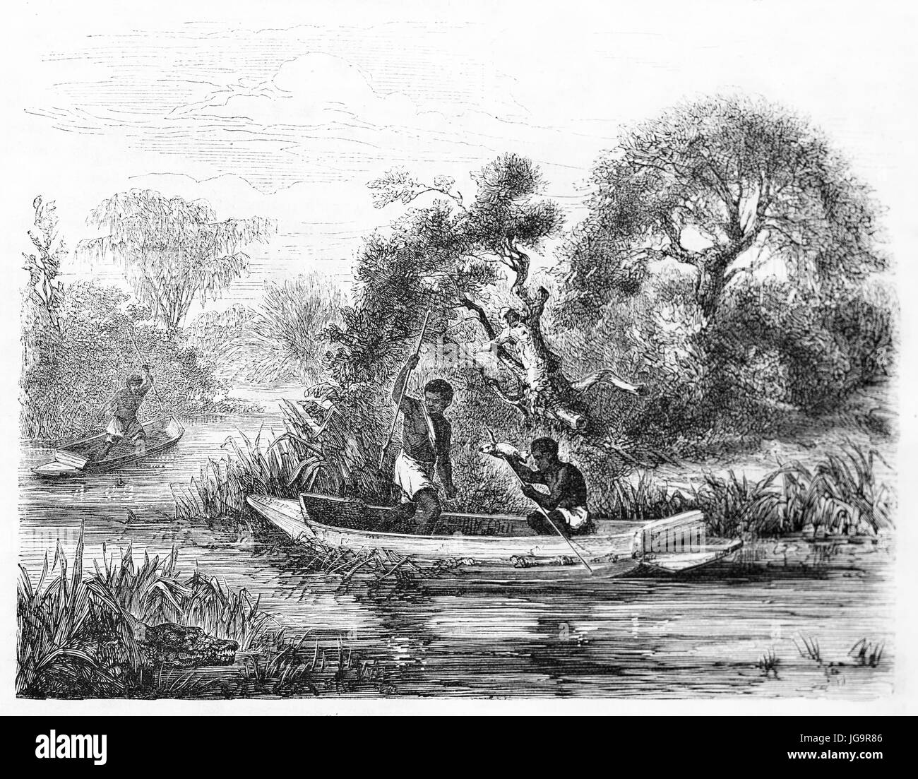 Old illustration of fishermen on Falémé river (on the border between Senegal and Mali). Created by Duvaux after Stock Photo