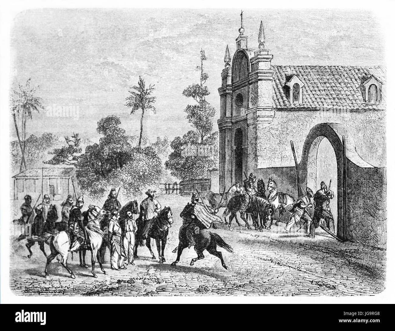 Old illustration of soldiers of the caudillo Juan Felipe Ibarra, Argentina.  Created by Castelli, published on Le - Stock Image