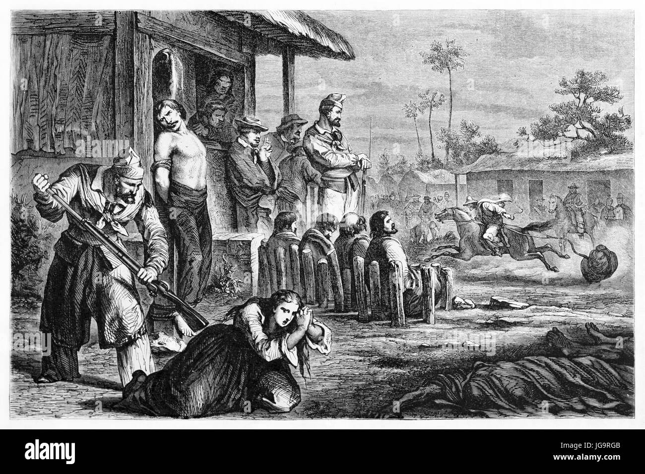 Old illustration of people oppressed by Juan Felipe Ibarra henchmen, Argentina.  Created by Castelli, published - Stock Image