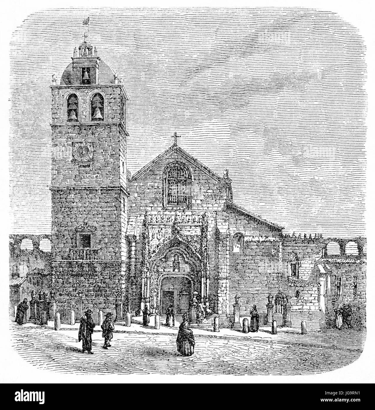 Old view of Matriz church in Vila do Conde, northern Portugal. Created by Catenacci after photo by Scabra, published - Stock Image
