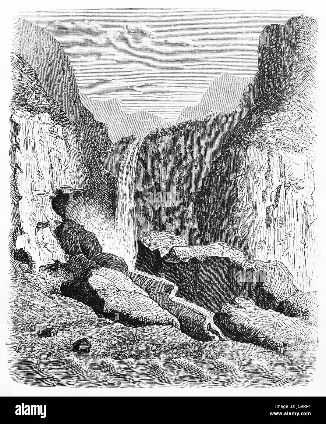 Old view of Opthun waterfalls, Norway. By unidentified author, published on Le Tour du Monde, Paris, 1861 - Stock Image