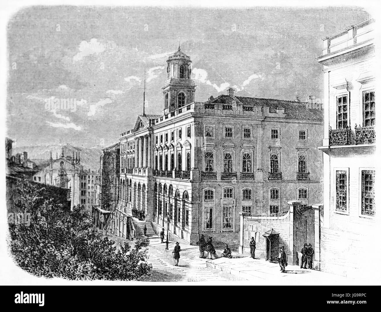 Old side view of Palacio da Bolsa, Porto, northern Portugal. Created by Catenacci after photo by unknown author, - Stock Image