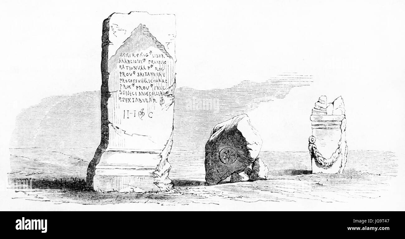 Old illustration of sculpture fragments in Kaimas, Turkey. Created by Pelcoq after Dauzats, published on Le Tour - Stock Image
