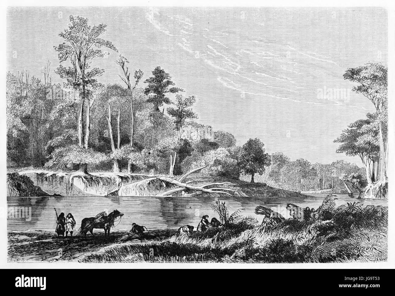 Old view of Sedger river, Chile. Created by De Bèrard, published on Le Tour du Monde, Paris, 1861 - Stock Image