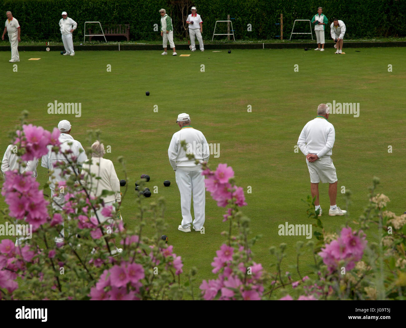 A game of bowls being played on the bowling green in the village of Rottingdean - Stock Image