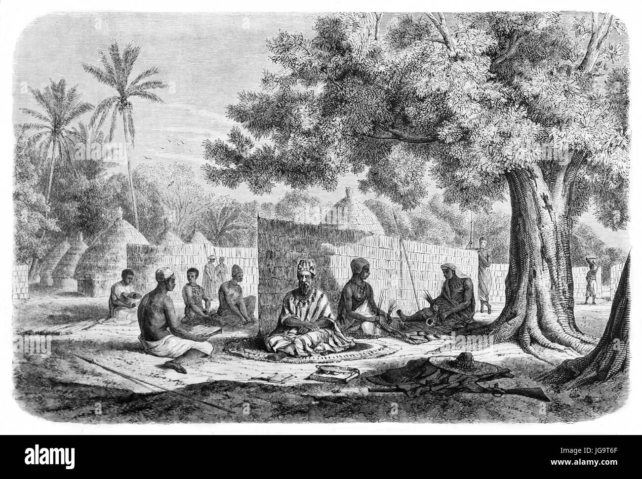 Old illustration of black Senegal people and chief in traditional dress. Created by Bérard, published on Le - Stock Image