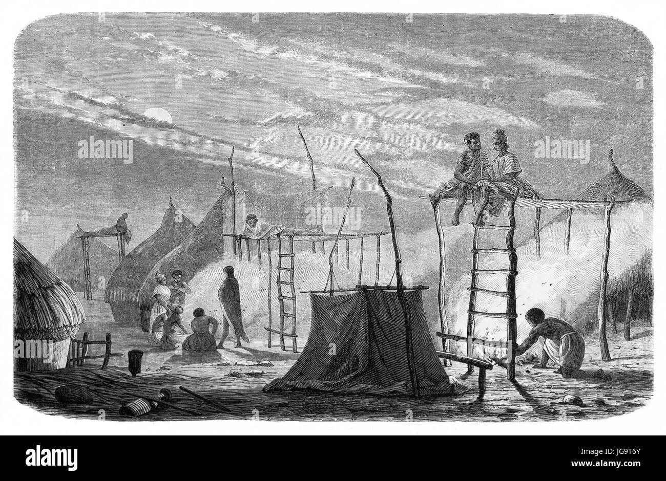 Old illustration of a village in southern Senegal (native lighting bonfires to drive away mosquitoes). Created by - Stock Image