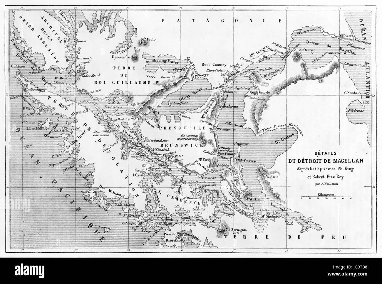 Strait of Magellan old map. Created by Erhard and Bonaparte, published on Le Tour du Monde, Paris, 1861 - Stock Image