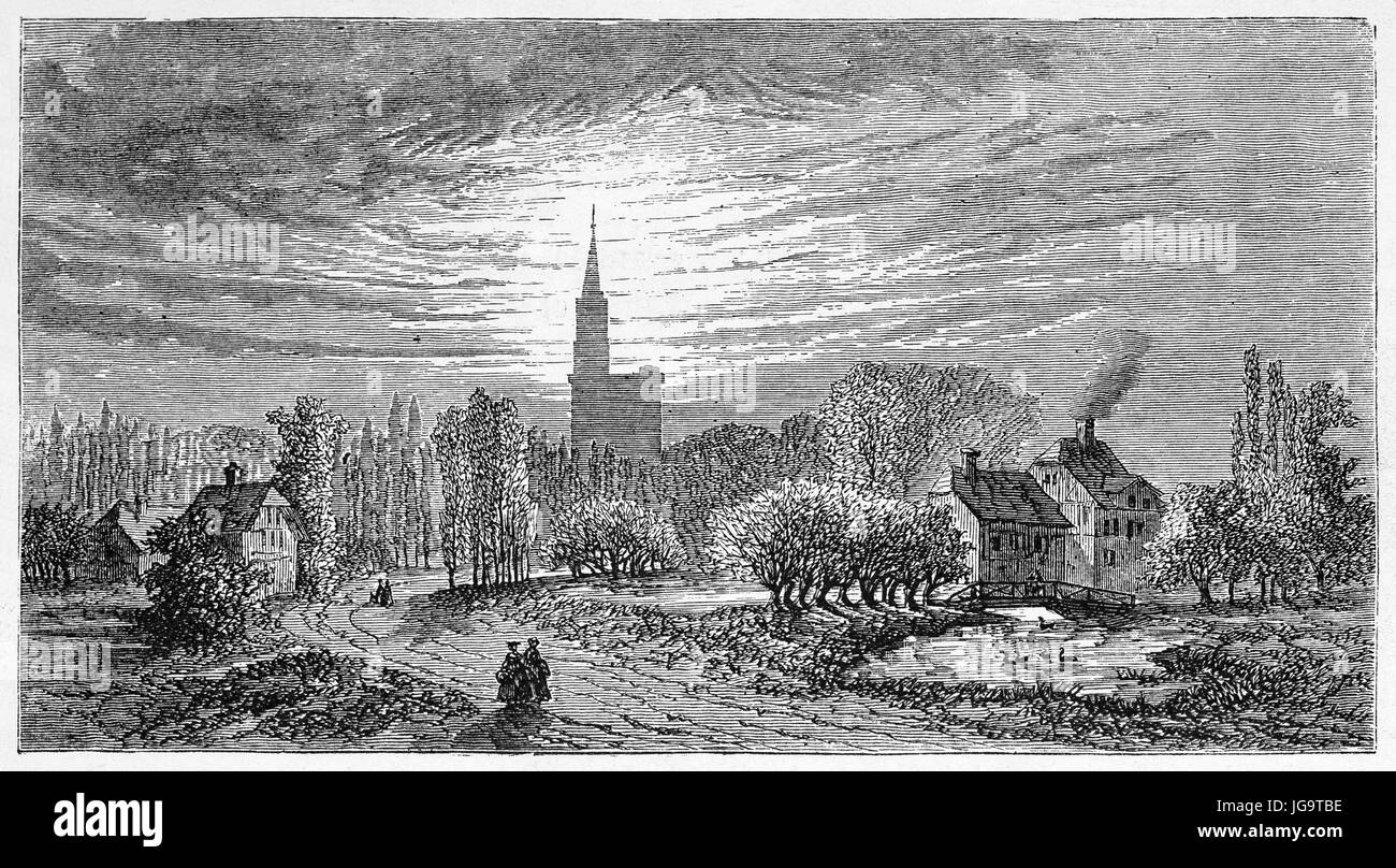 Old view of Strasbourg surroundings and cathedral in the distance, France. Created by Lancelot, published on Le - Stock Image