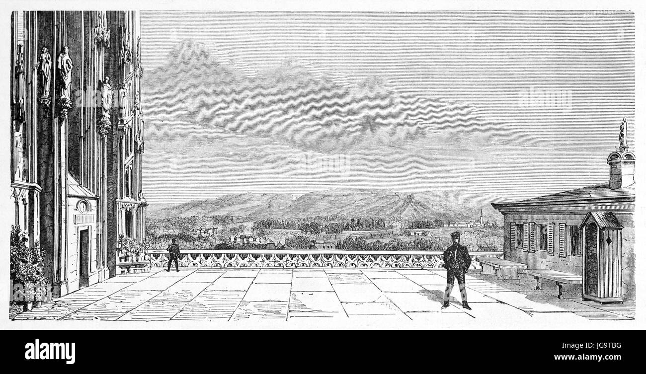 Old view of Strasbourg cathedral platform, France. Created by Lancelot, published on Le Tour du Monde, Paris, 1861 - Stock Image