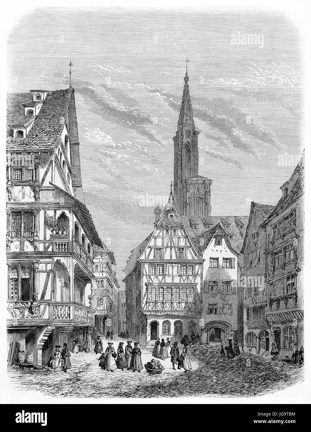 Old view of antique hauses in Strasbourg, France. Created by Lancelot and Gaucherd, published on Le Tour du Monde, - Stock Image