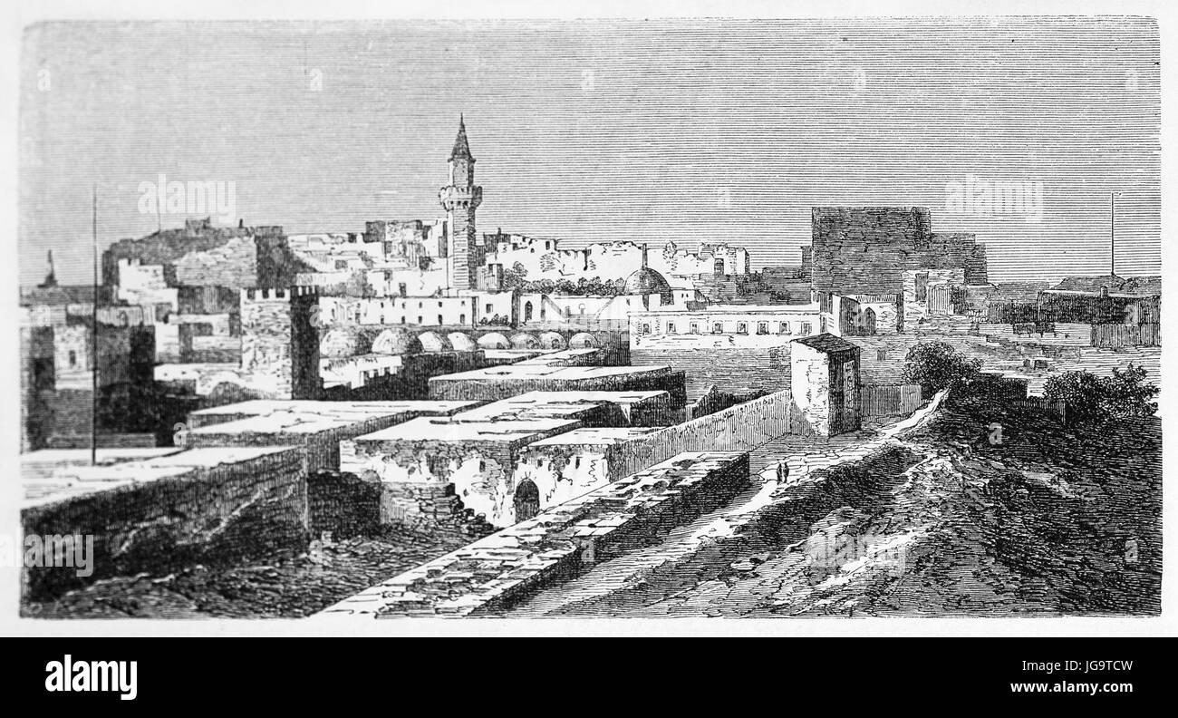 Old view of Tripoli, Libya. Created by Lancelot after photo by unknown author, published on Le Tour du Monde, Paris, - Stock Image
