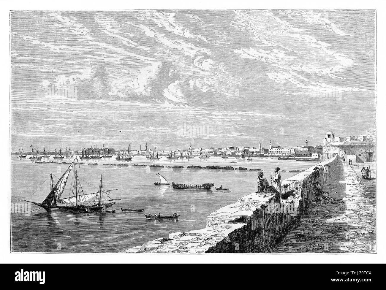 Old view of Tripoli, Libya. Created by Berard after photo by unknown author, published on Le Tour du Monde, Paris, - Stock Image