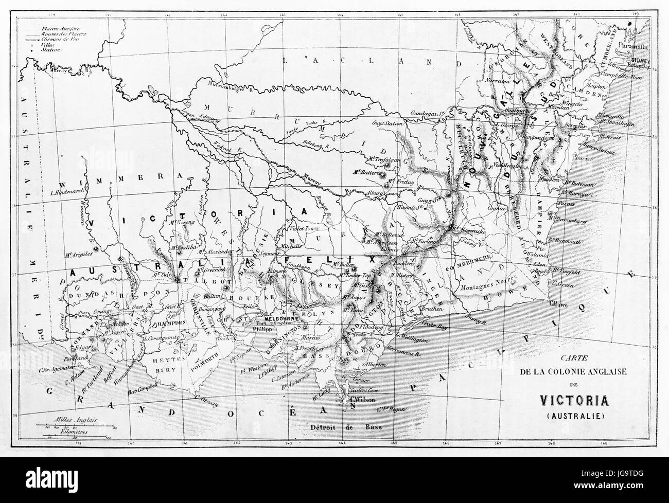 Old map of Victoria colony, Australia. Created by Erhard and Bonaparte, published on Le Tour du Monde, Paris, 1861 - Stock Image