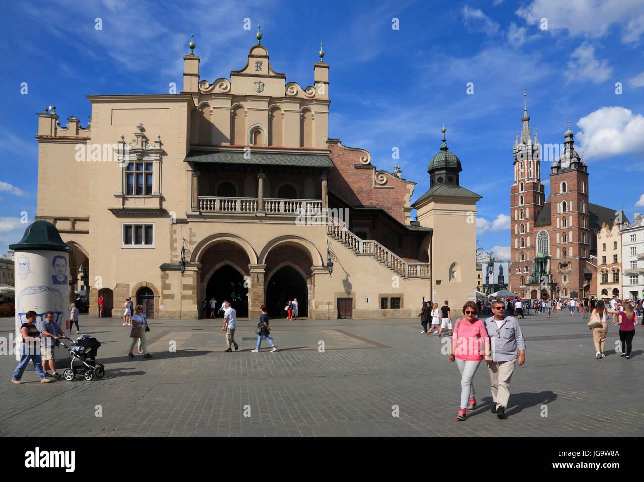 Cloth Halls at Rynek, Krakow, Poland, Europe - Stock Image