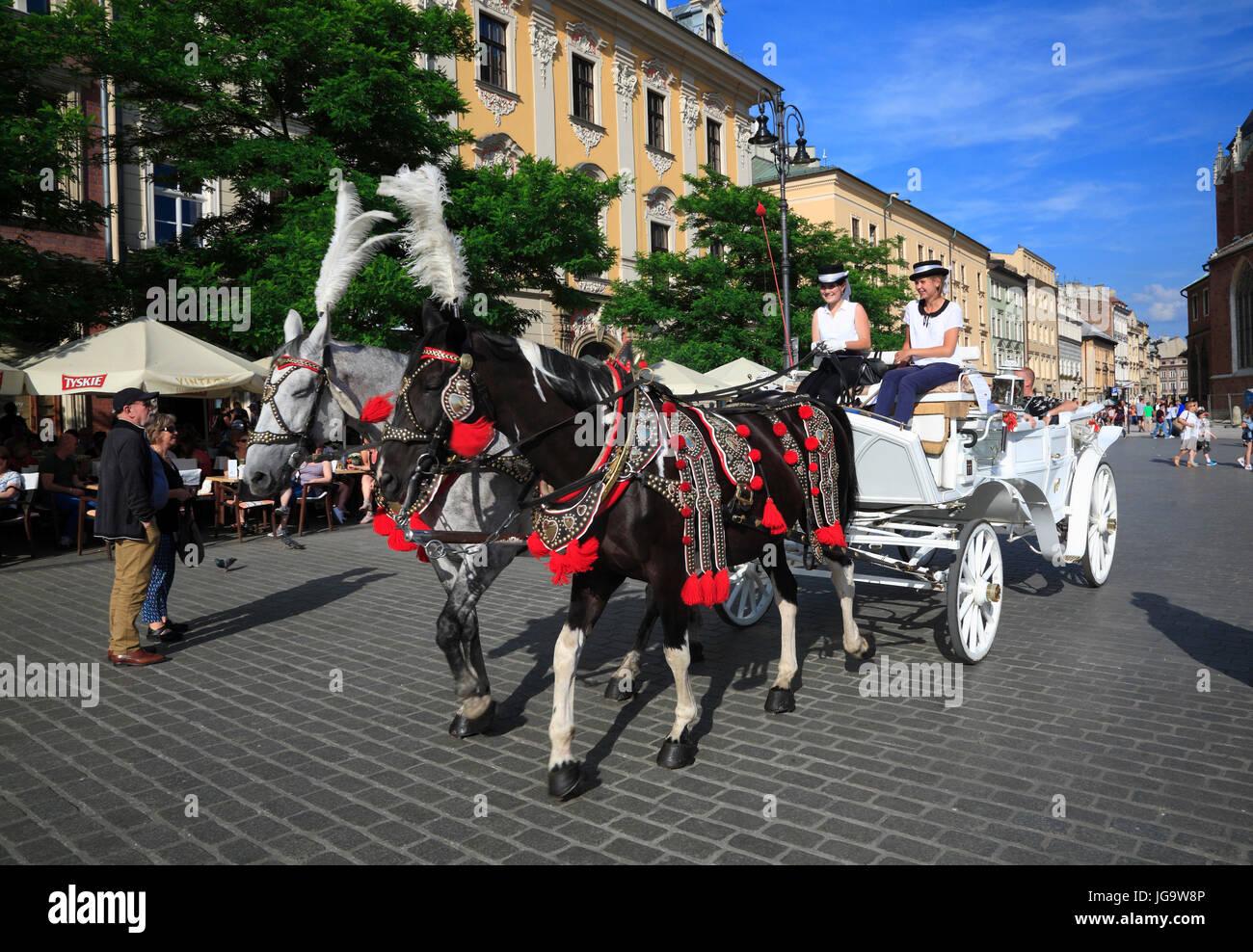 Europa, Polen, Krakau, Pferdekutsche am Rynek - Stock Image