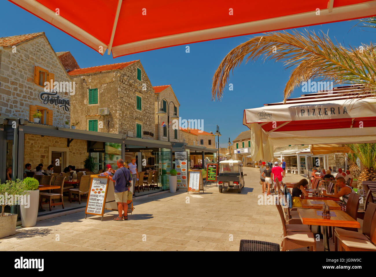 Bars and Cafés at Primosten old town, Croatia - Stock Image