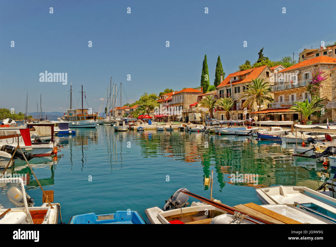 Stomorska village on the island of Solta, Croatia. - Stock Image