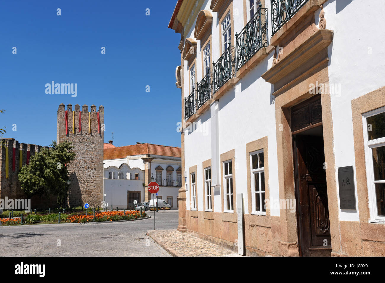 Castle and Casa do Alamo, Alter Do Chao, Beiras region, Portugal, Stock Photo