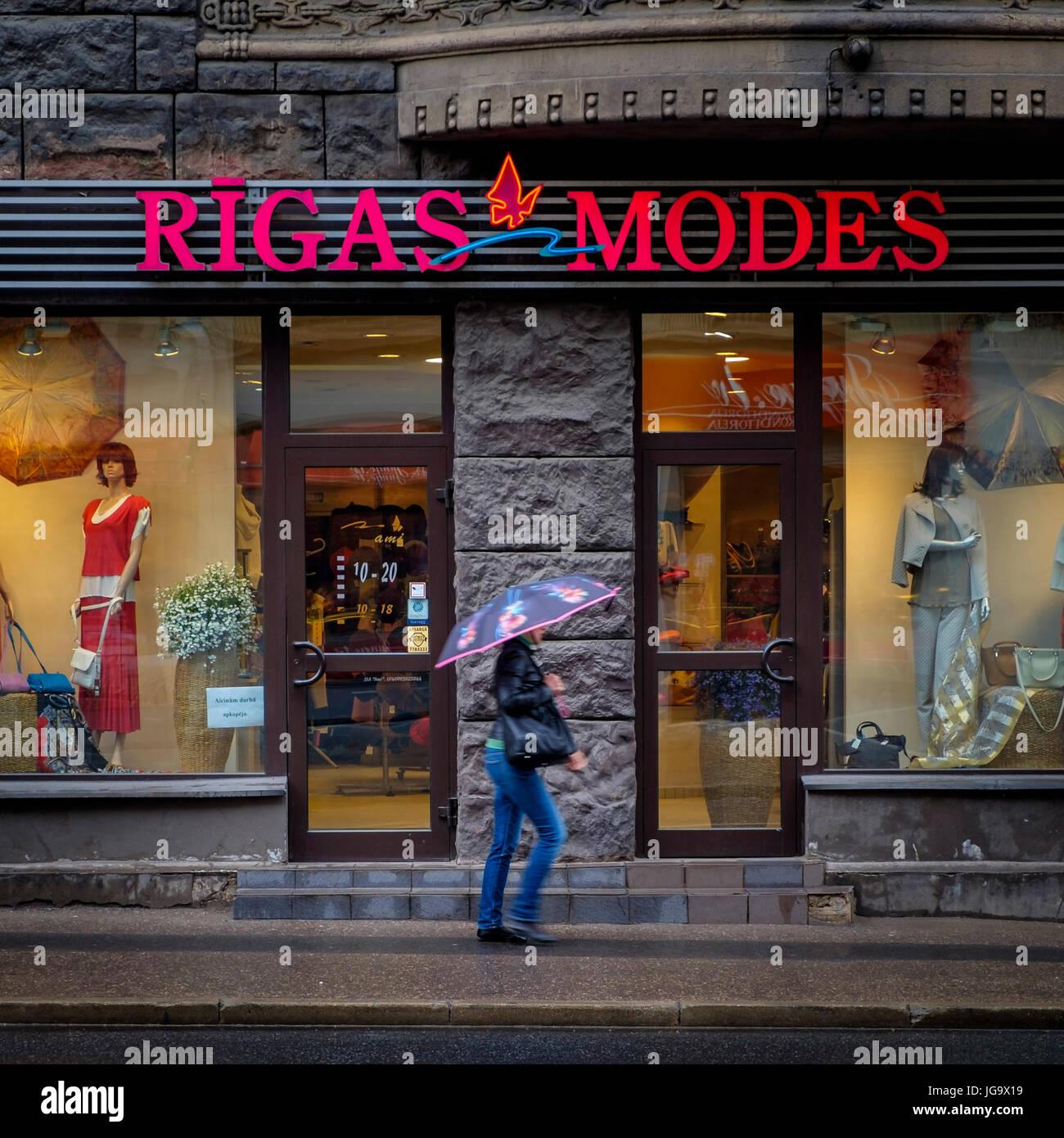 RIGA, LATVIA - CIRCA MAY 2014: Typical storefront in Marijas iela street in the center of Riga. - Stock Image
