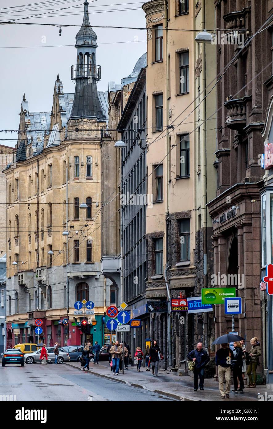 RIGA, LATVIA - CIRCA MAY 2014: View of Marijas iela street in the center of Riga. - Stock Image