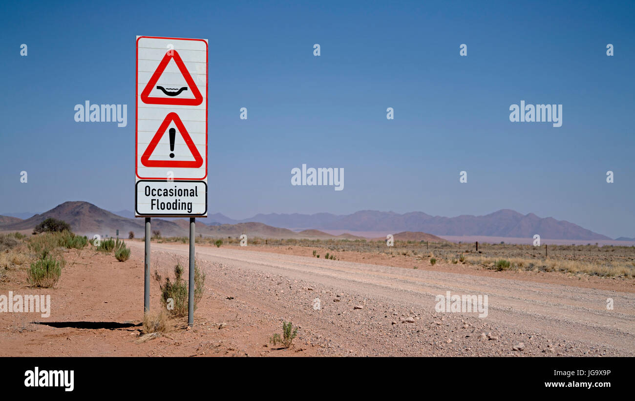 Comical Road Sign in Namib Naukluft National Park in Namibia - Stock Image
