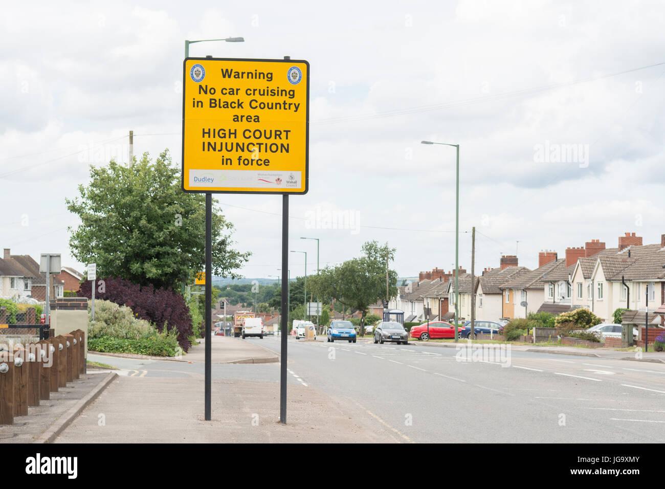 Car cruising ban sign, Brownhills, Walsall, England, UK - Stock Image