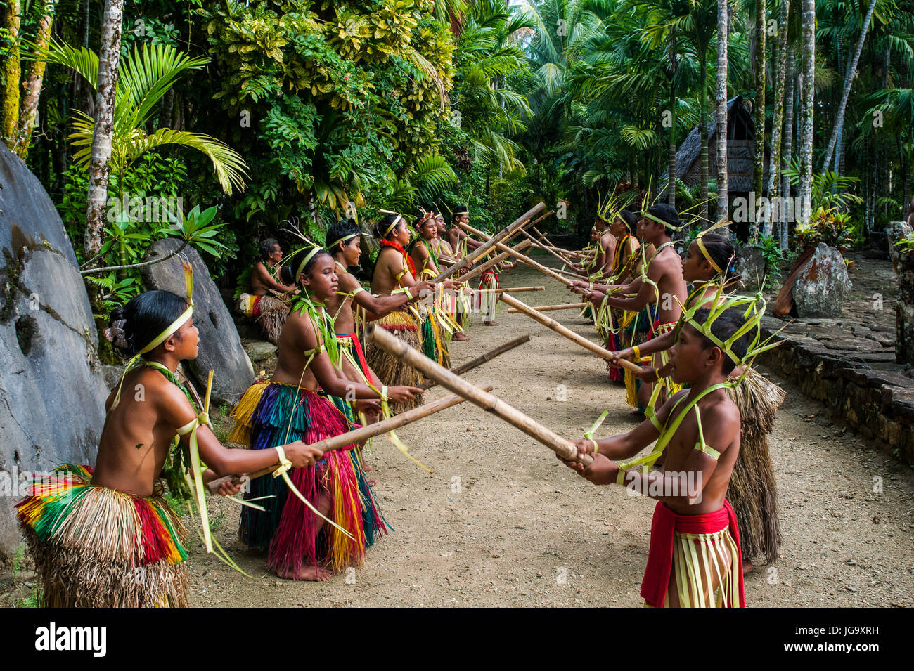 Stick dance from the tribal people of the island of Yap, Micronesia - Stock Image
