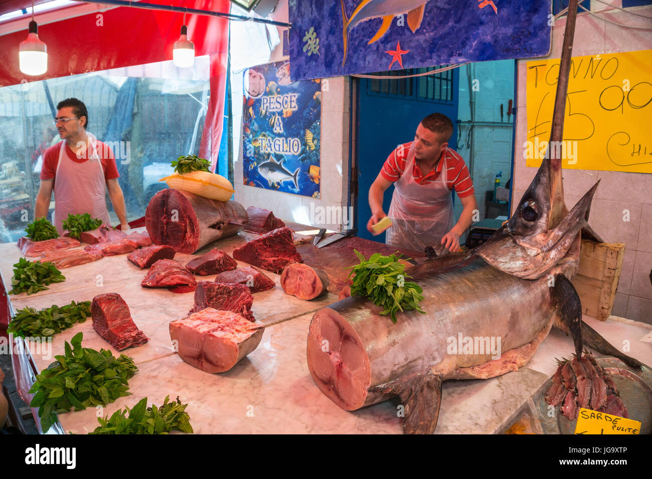A fishmongers stall in The Ballaro Market in the Albergheria district of central Palermo, Sicily, Italy. - Stock Image