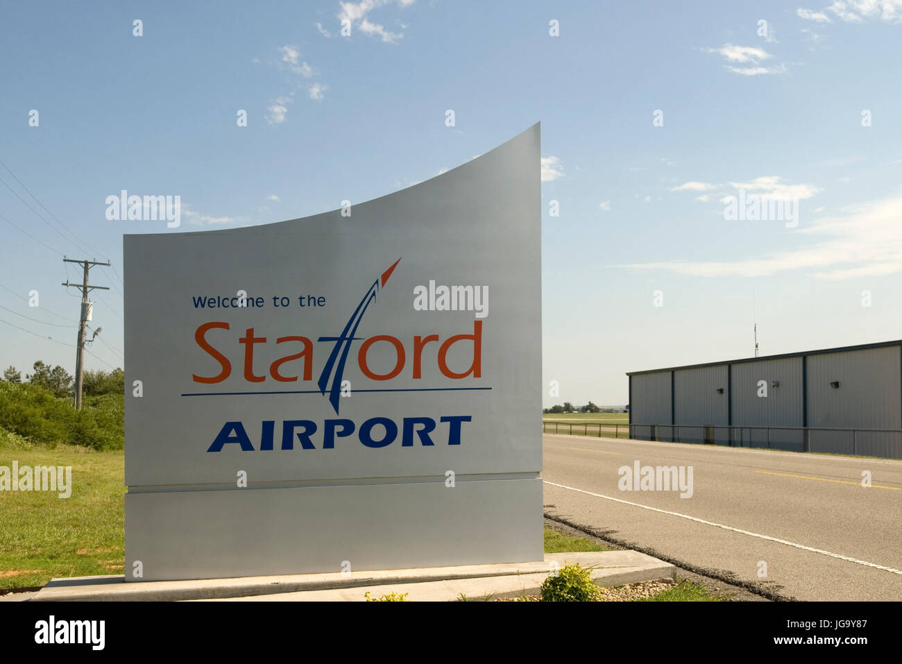 Stafford Airport welcome sign Weatherford Oklahoma, USA. - Stock Image