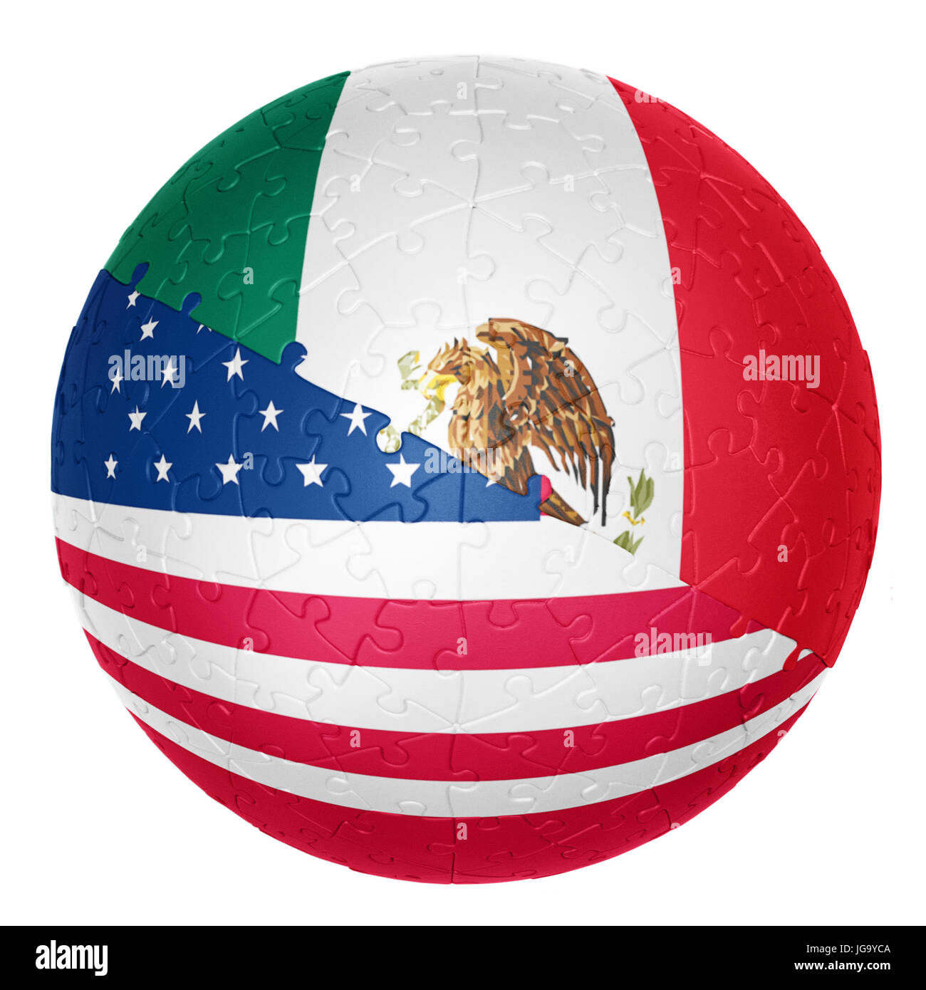 jigsaw ball one half is the Mexico flag the other half is the USA flag 3D illusions - Stock Image