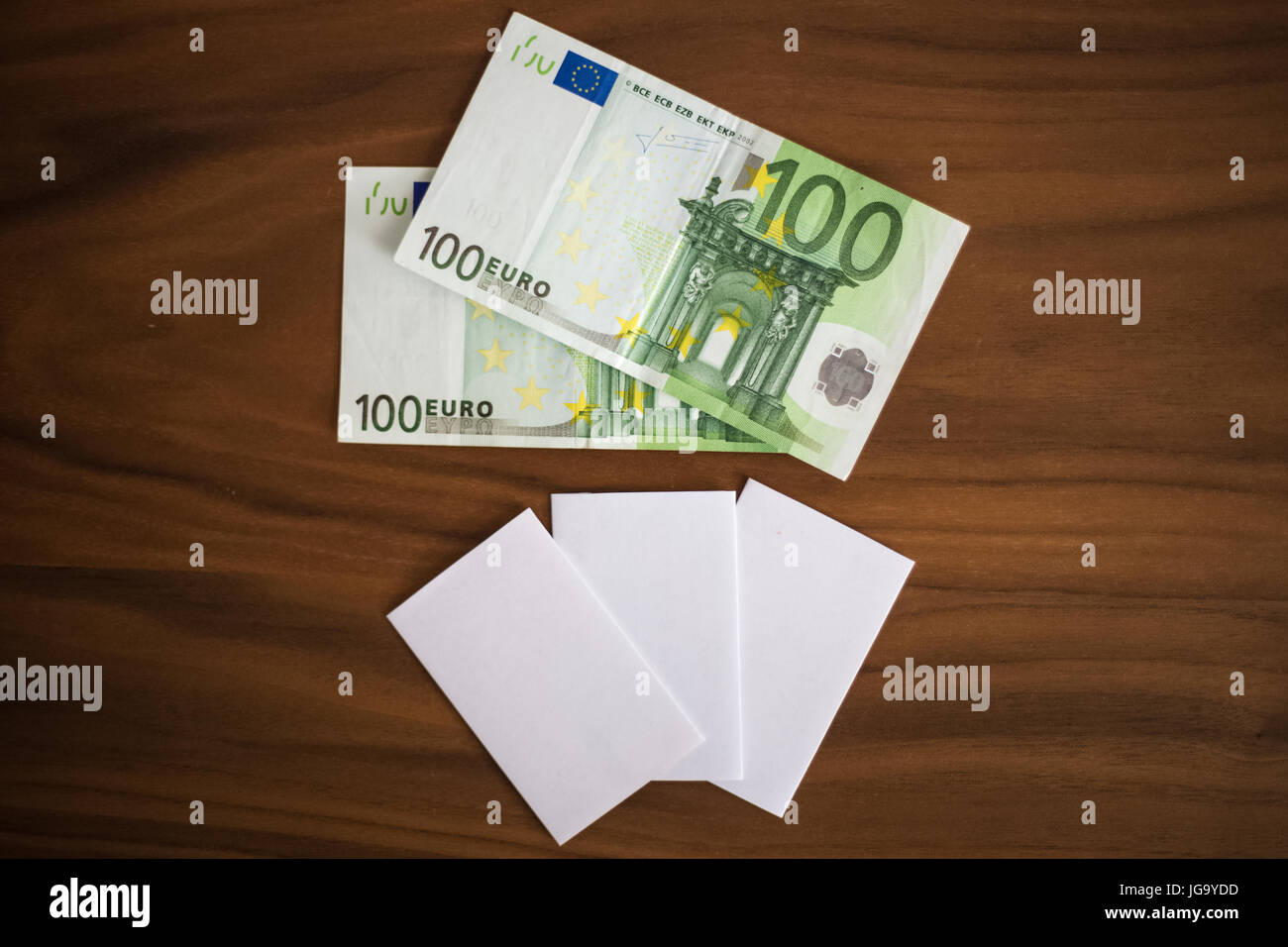 Bank Cards Business Cards Cash Money On A Wooden Background Stock