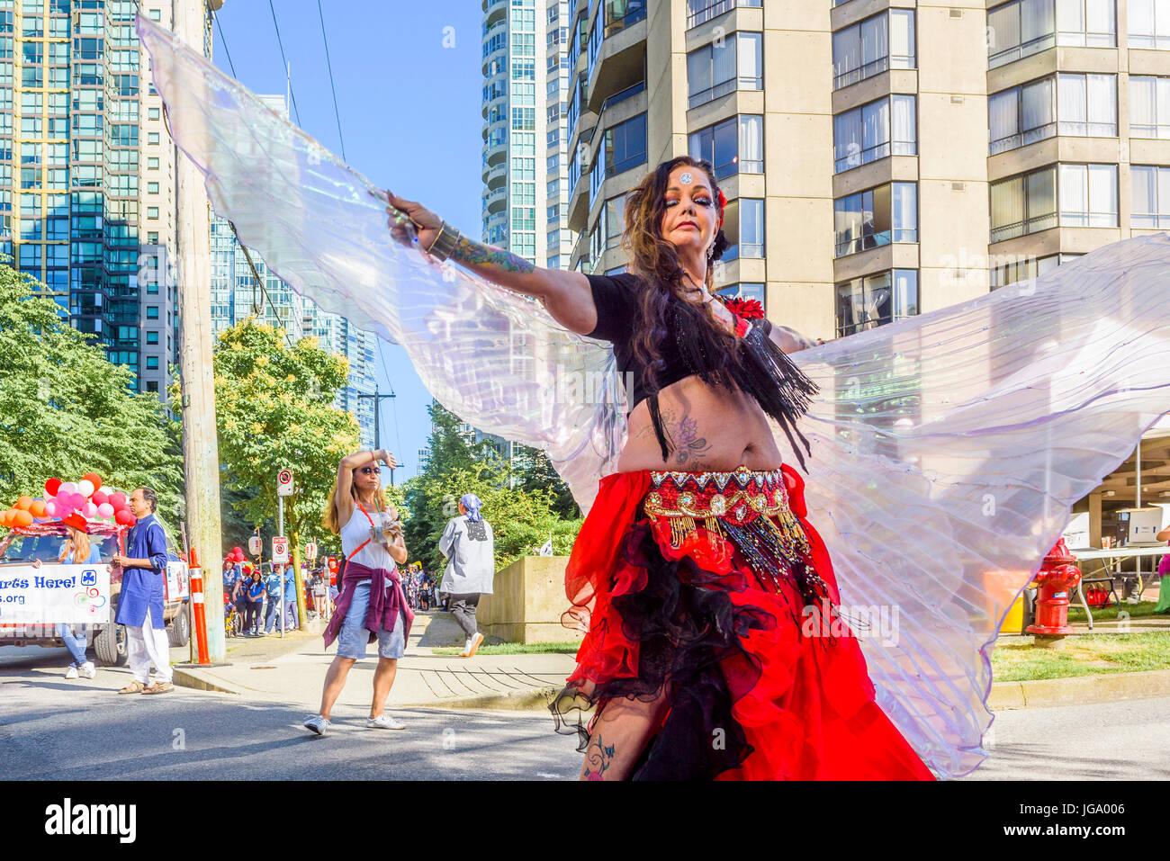 Canada 150, Canada Day Parade, Vancouver, British Columbia, Canada. - Stock Image