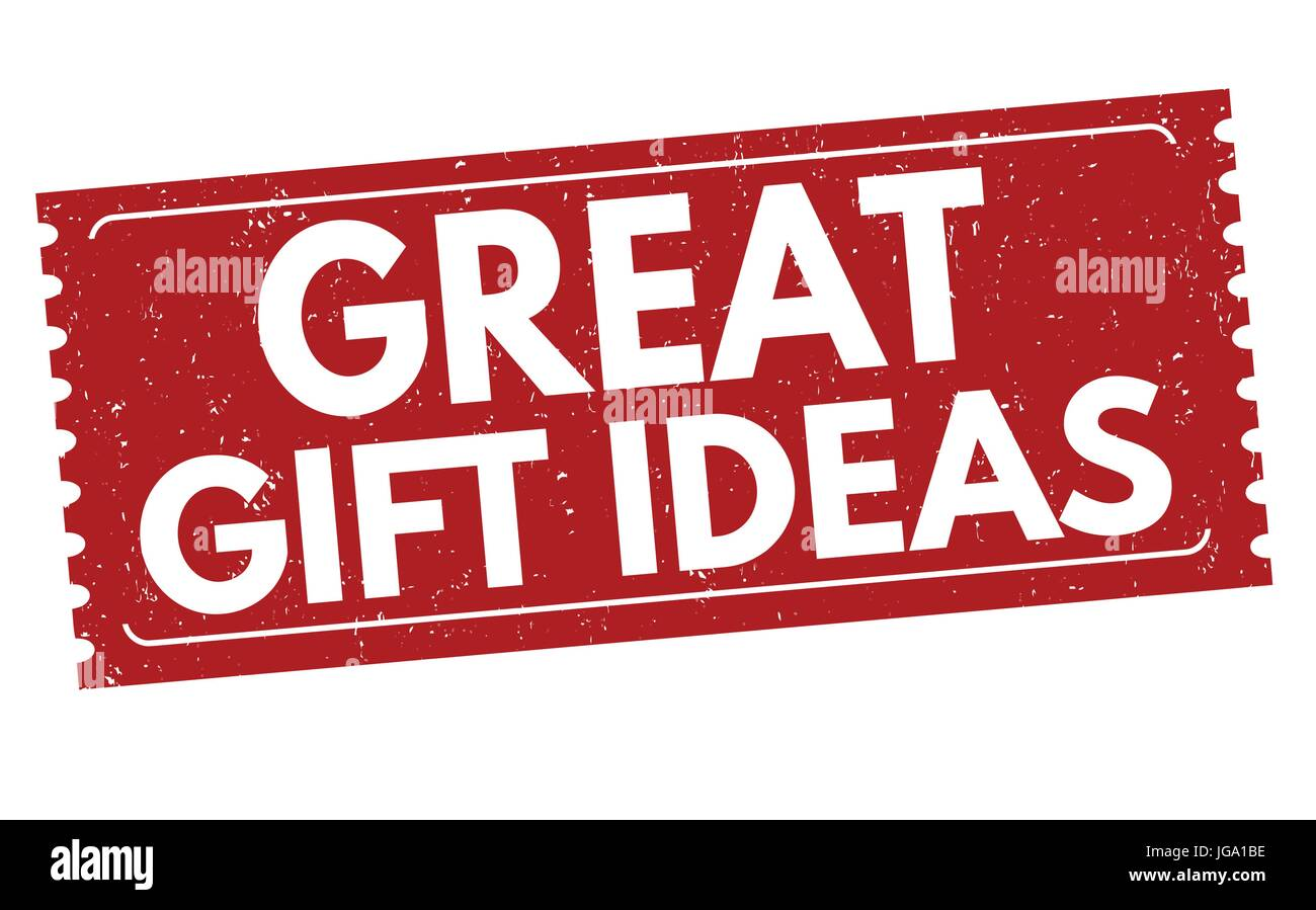 44b00901 Great gift ideas sign or stamp on white background, vector illustration