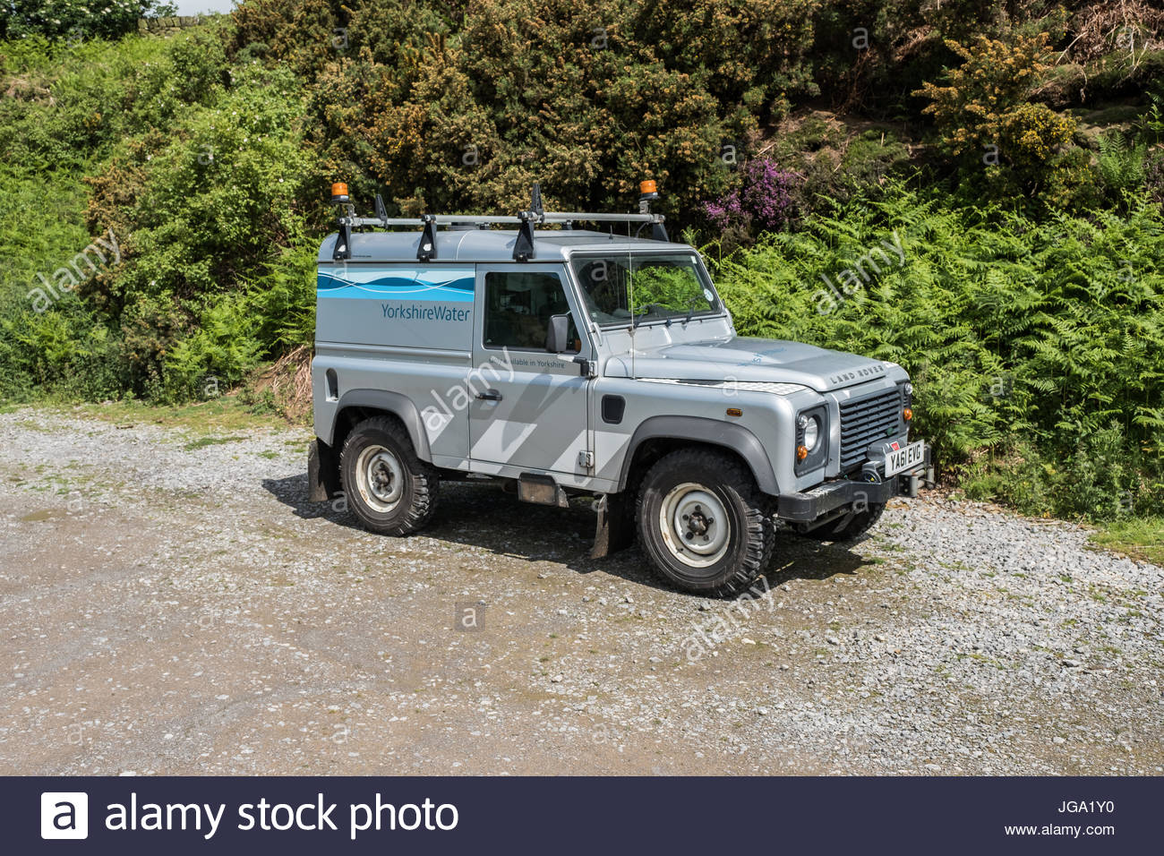 A grey Yorkshire Water Landrover parked unattended near to Oak Dale
