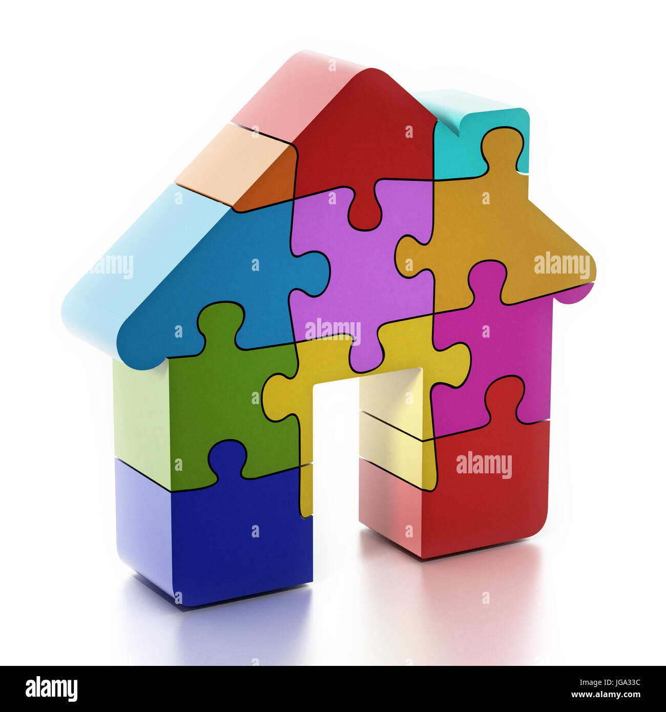 Multi colored puzzle pieces forming a house. 3D illustration. - Stock Image