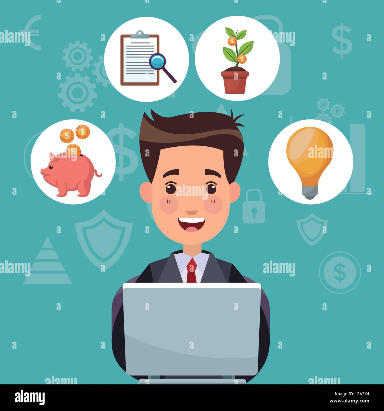 color background analytics investment with bussiness man work in laptop and bubbles icons economy - Stock Vector