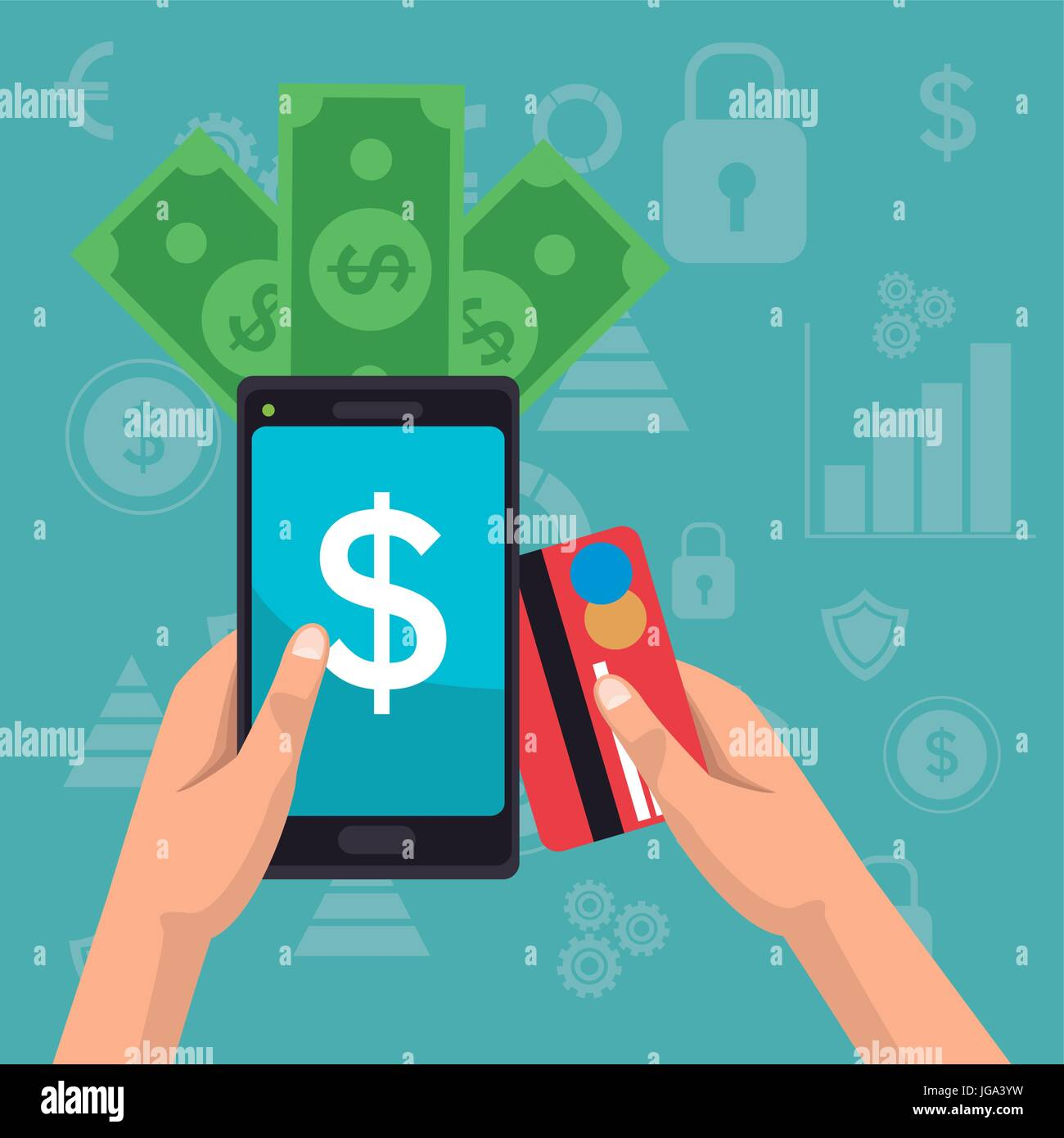 color background analytics investment icons and hand holding a smartphone with bills and debt card - Stock Vector