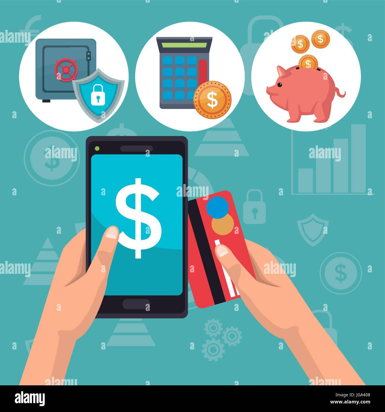 color background analytics investment icons and hand holding a smartphone with debt card - Stock Vector
