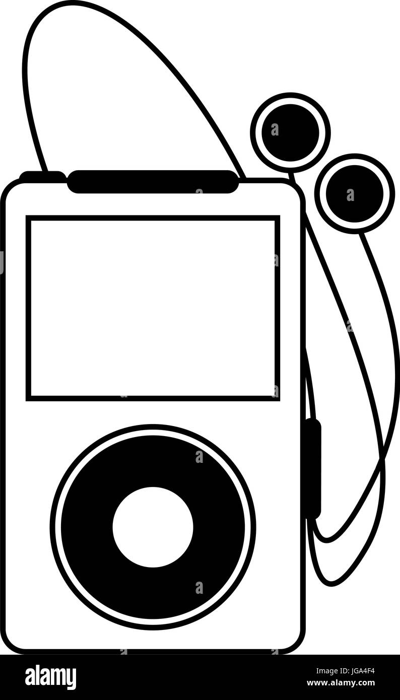 portable music player with earphones icon image Stock Vector