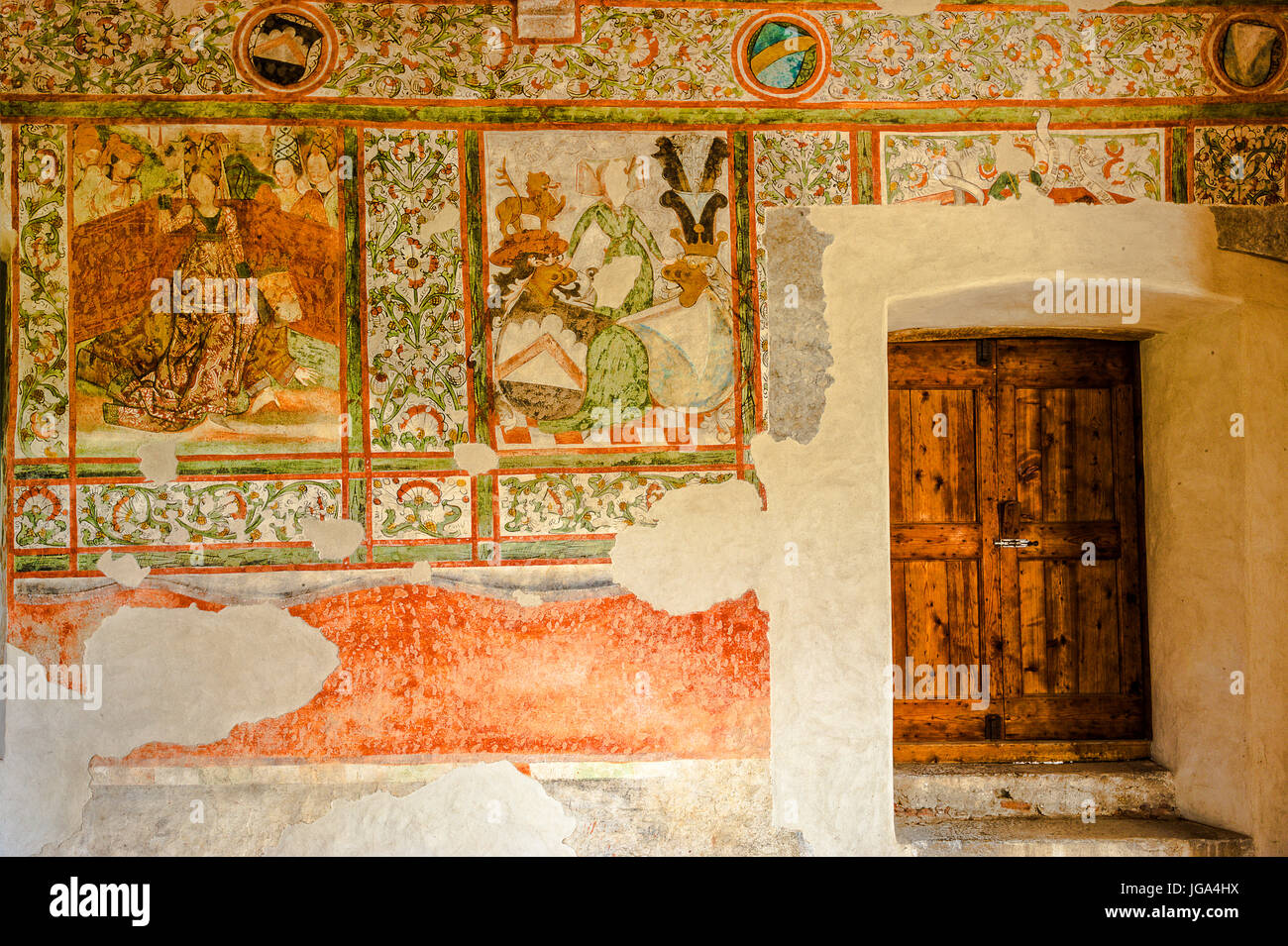 Italy Trentino Calliano Castel Pietra - room of the Judment -A fresco depicting Aristotle ridden by Filide - Stock Image