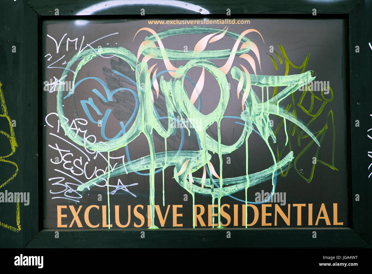 Exclusive Residential sign splattered with graffiti near Brick Lane, Spitalfields, Tower Hamlets East London UK - Stock Image