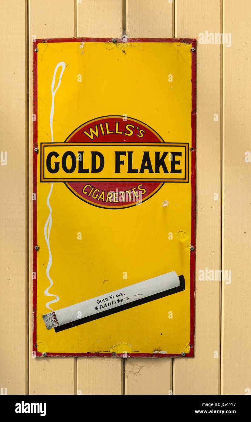 Vintage cigarette advertisment sign at Ramsbottom station, on the East Lancashire Railway, near Bury, Greater Manchester, - Stock Image